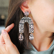 Load image into Gallery viewer, Black and White Abstract Print Earrings