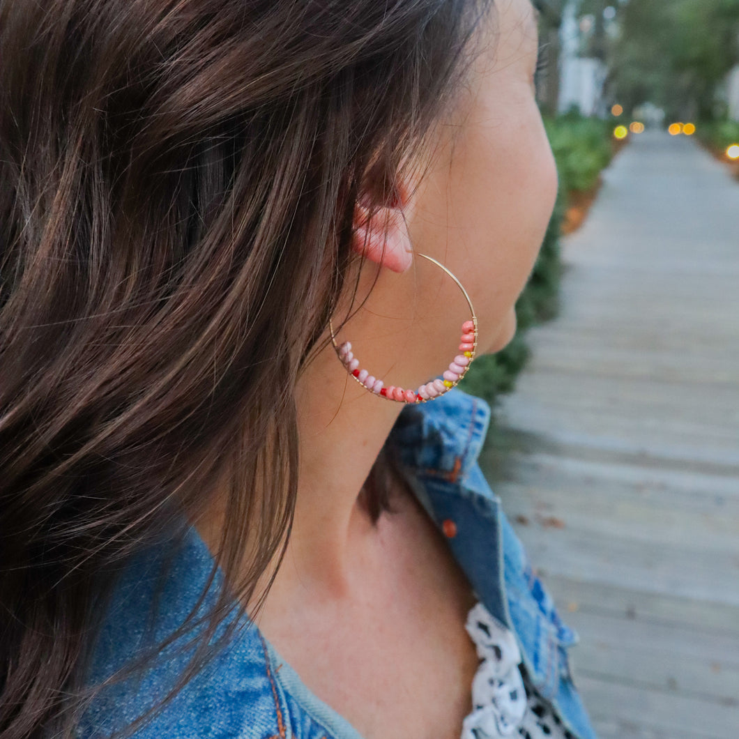 Blush Beaded Featherweight Hoops