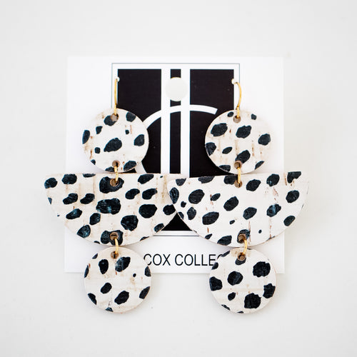 Dalmatian Print Leather Earrings