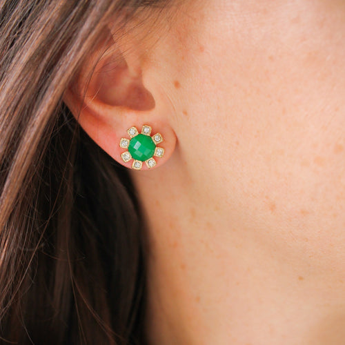 Green Faceted Stone Studs