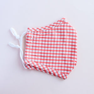 Coral Gingham Adjustable Face Mask