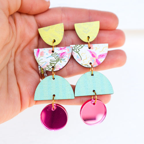Orchid and Spearmint Geometric Earrings