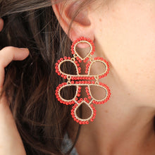 Load image into Gallery viewer, Red Beaded Infinity Knot Earrings