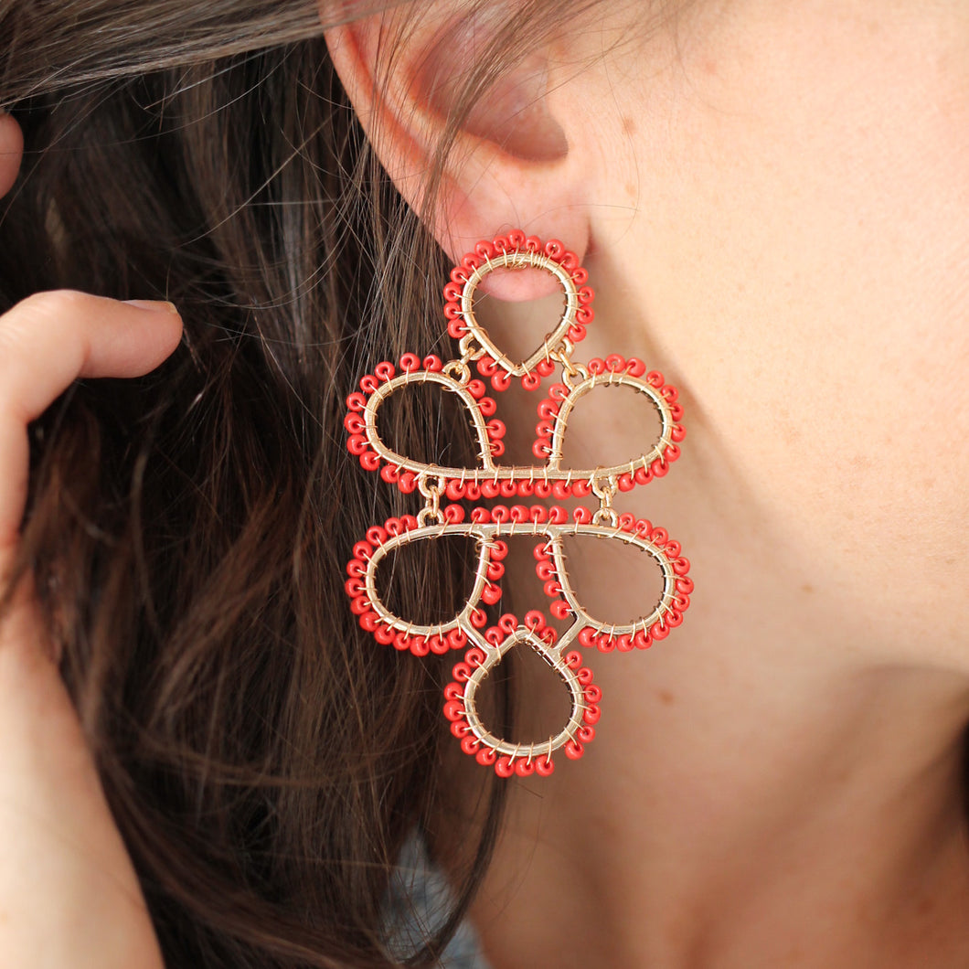 Red Beaded Infinity Knot Earrings
