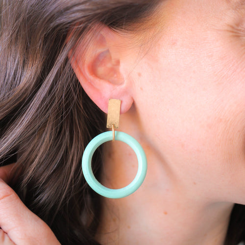 Mint Wood Circle Earrings