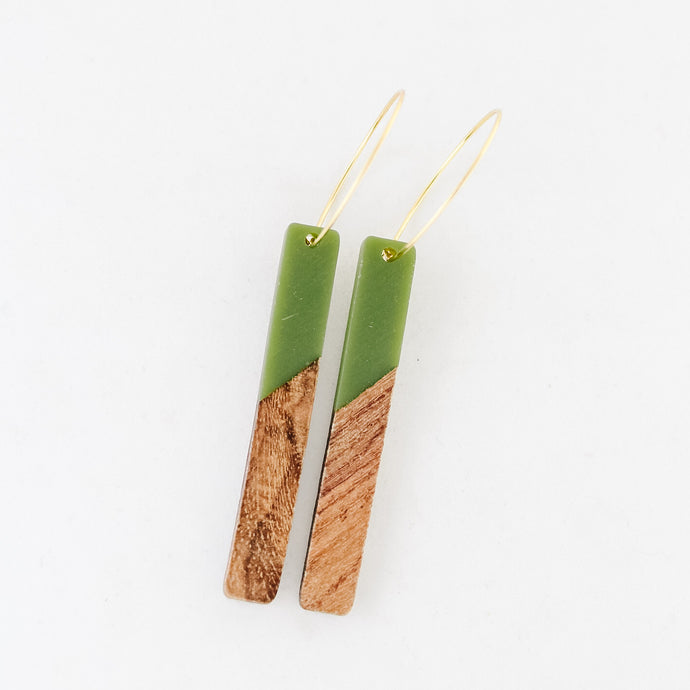 Olive Resin and Wood Bar Earrings