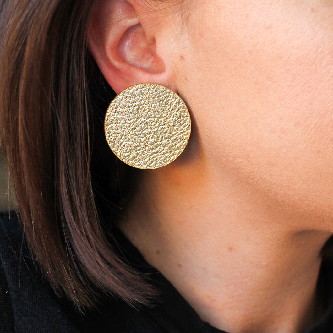 Gold Leather Circle Studs