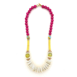 Fuchsia and Chartreuse Tumbled Wood Necklace