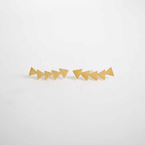 Gold Triangle Ear Crawler Studs