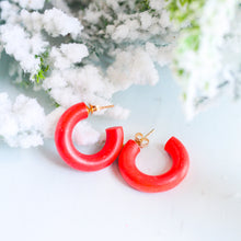 Load image into Gallery viewer, Red Wooden Huggie Hoops