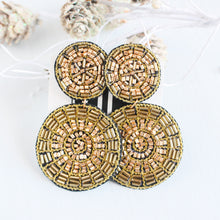 Load image into Gallery viewer, Gold Beaded Double Disk Earrings