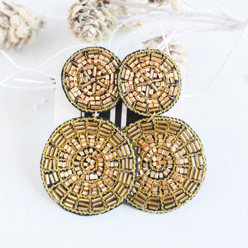 Gold Beaded Double Disk Earrings