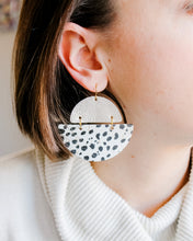 Load image into Gallery viewer, Platinum Leather and Dalmatian Cork Earrings