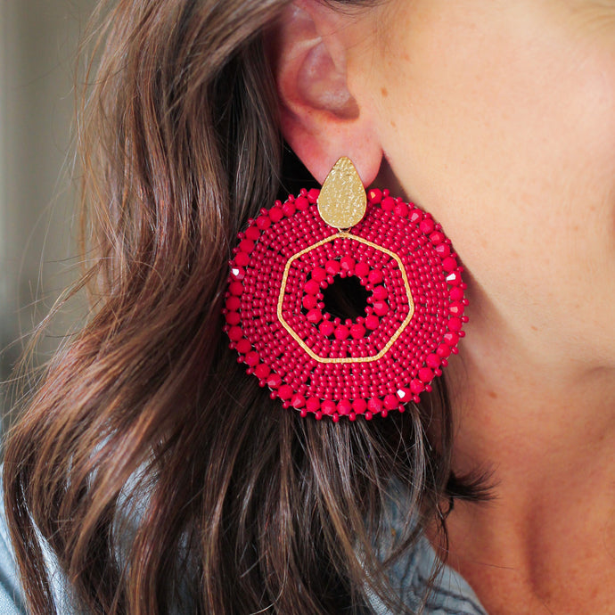 Oxblood Woven Beaded Earrings