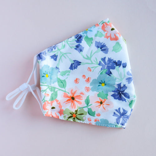 Pastel Floral Print Adjustable Face Mask