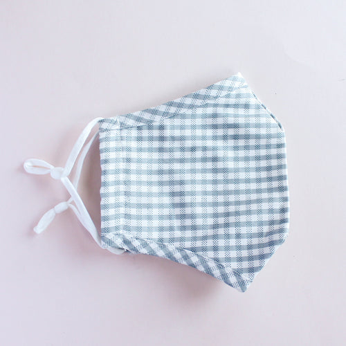 Blue Grey Gingham Adjustable Face Mask