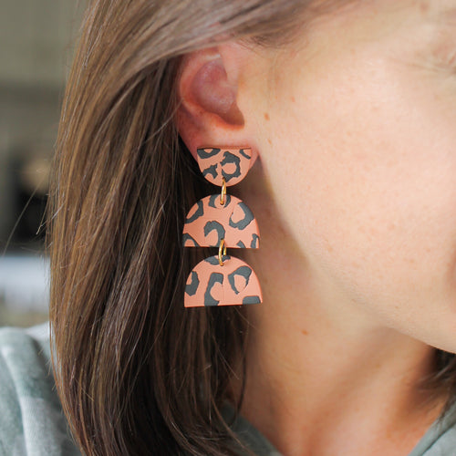 Cinnamon Leopard Print Earrings