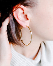 Load image into Gallery viewer, Thin Brushed Gold Hoops
