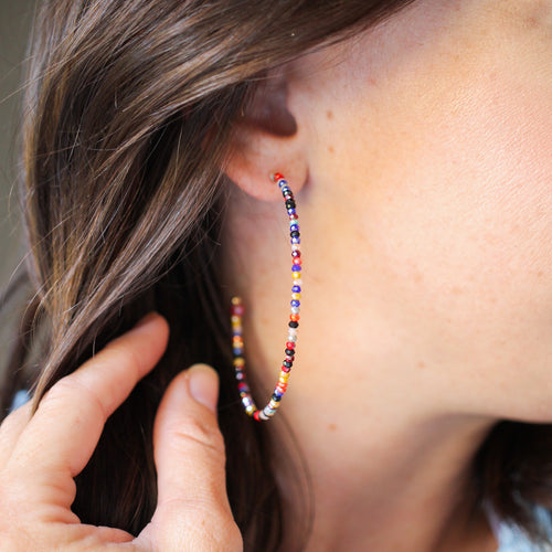 Multicolored Stone Hoops