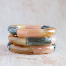 Load image into Gallery viewer, Hunter Green, Beige, and Light Tortoise Stackable Bracelet