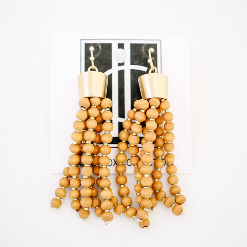 Cognac Beaded Tassels
