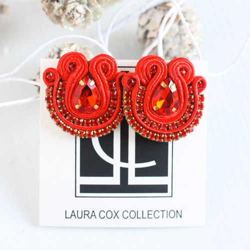 Red Mixed Media Studs