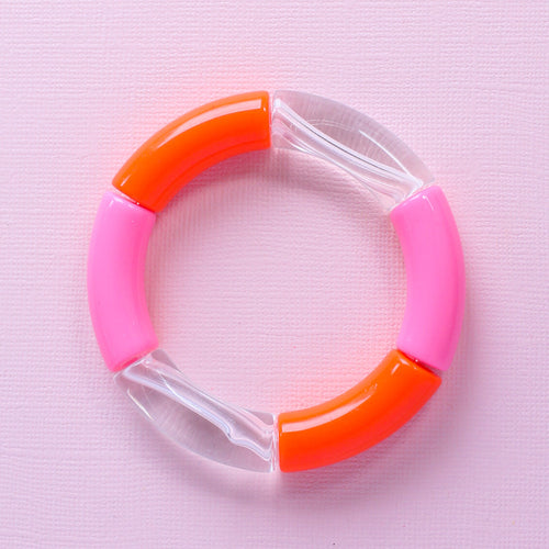 Orange and Pink Colorblocked Bracelet