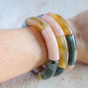 Hunter Green, Beige, and Light Tortoise Stackable Bracelet