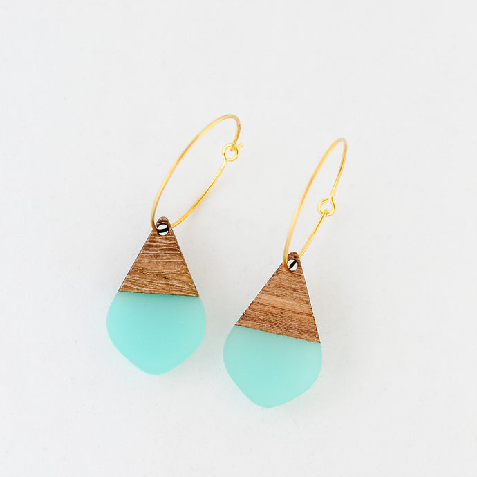 Teal Resin and Wood Teardrop Earrings