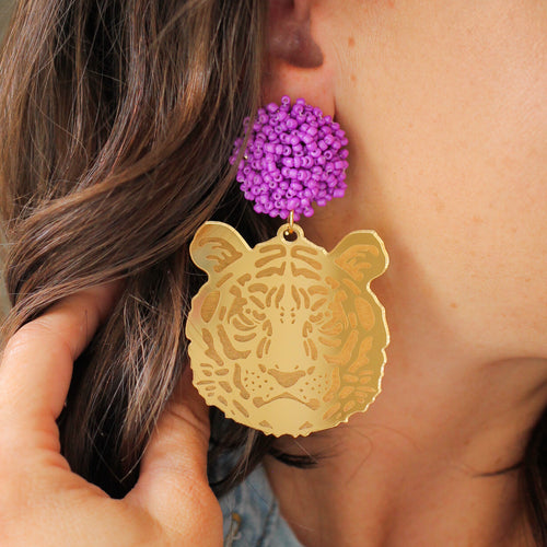 Gold Tiger Face Earrings