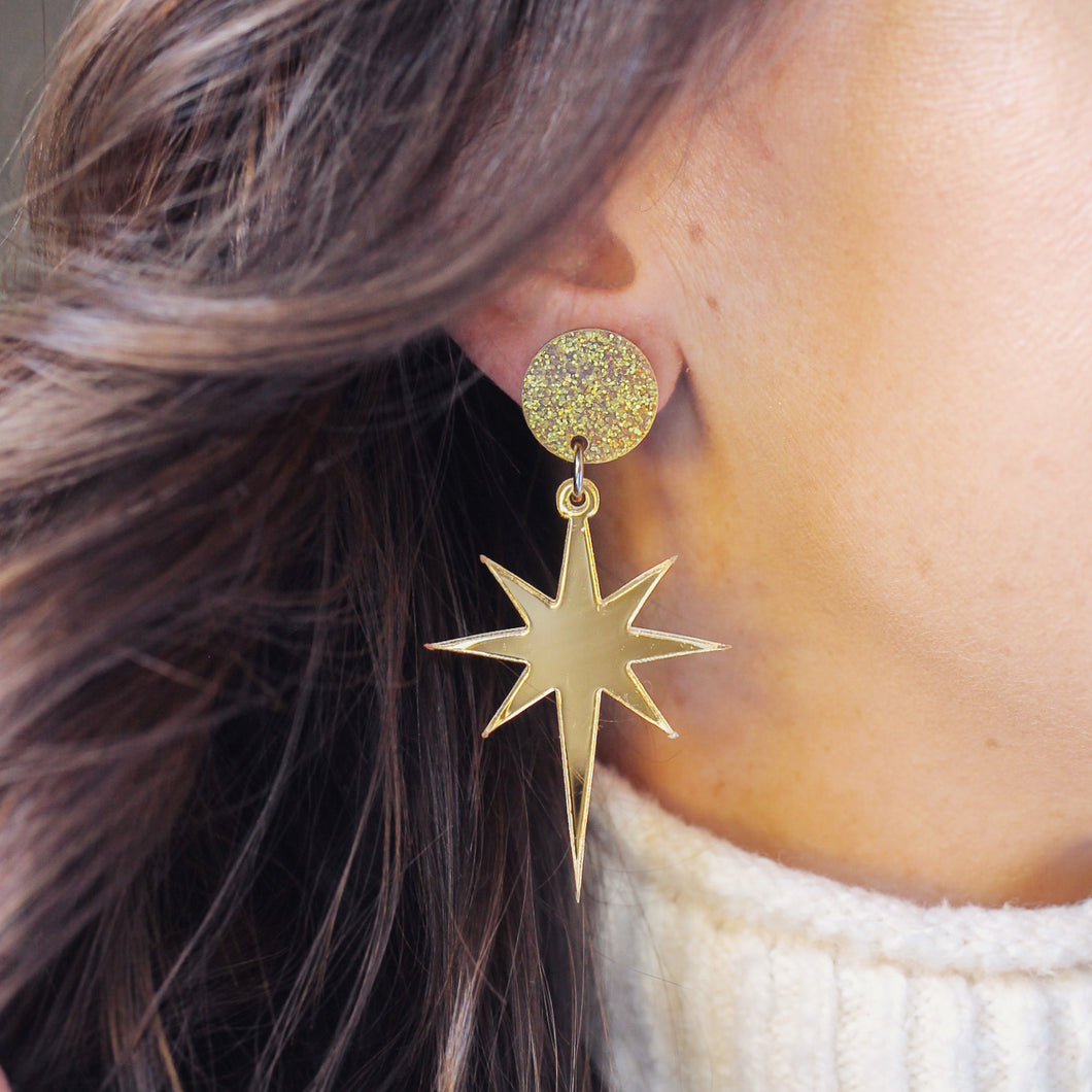 PREORDER- Acrylic Star of Bethlehem Earrings