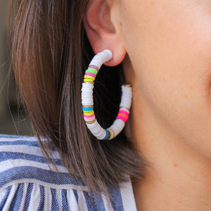 White and Neon Heishi Hoops