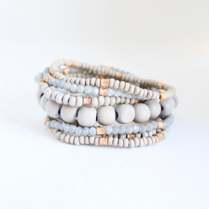 Grey and Gold Bracelet Stack