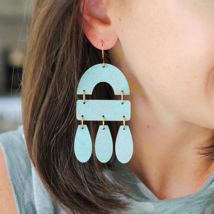 Patina Blue Wood Chandelier Earrings