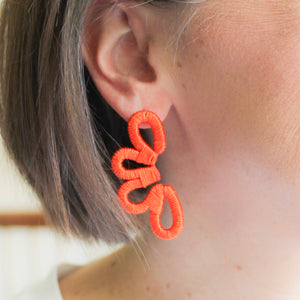 Orange Scalloped Earrings
