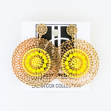 Load image into Gallery viewer, Yellow and Gold Medallion Earrings
