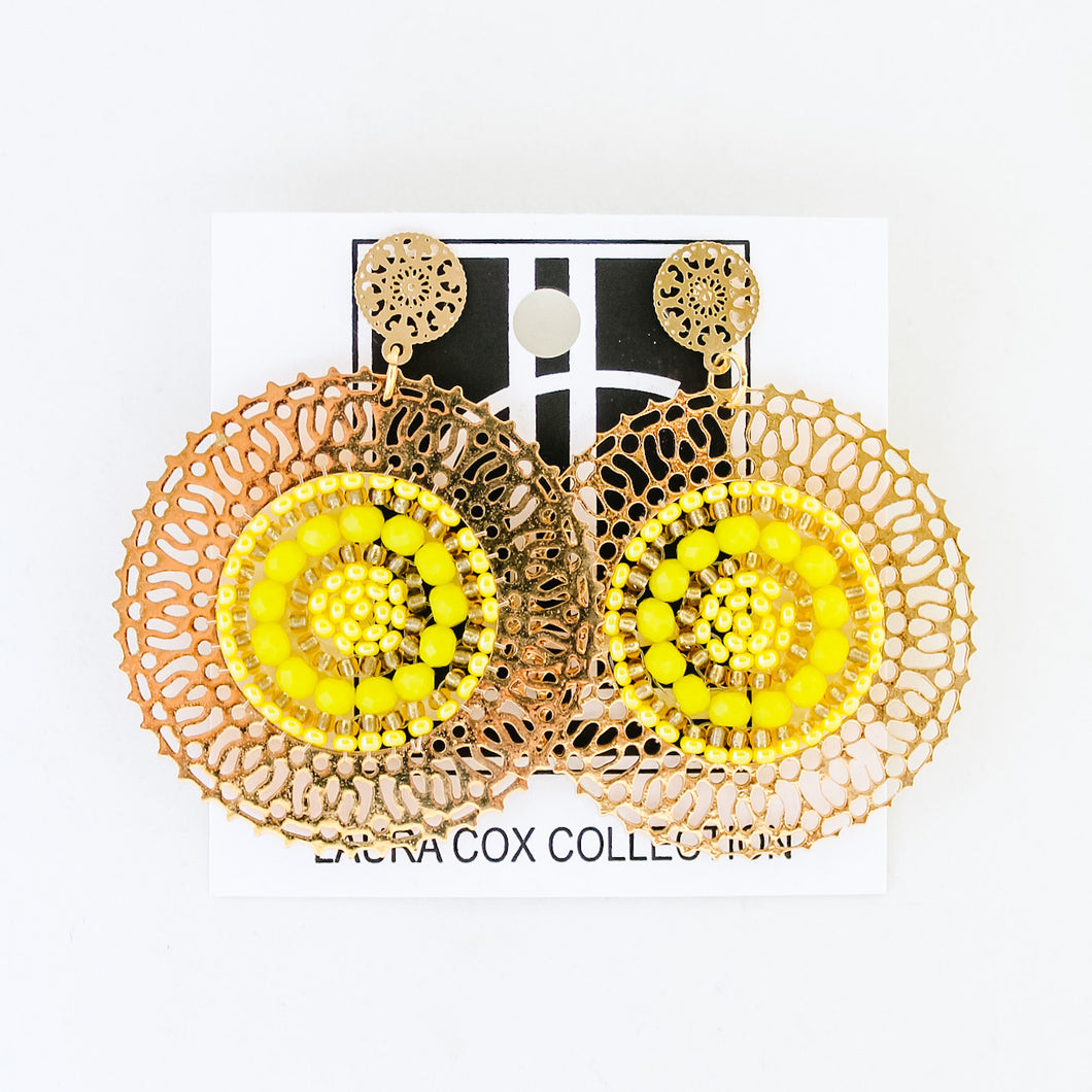 Yellow and Gold Medallion Earrings