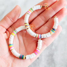 Load image into Gallery viewer, White and Neon Heishi Hoops