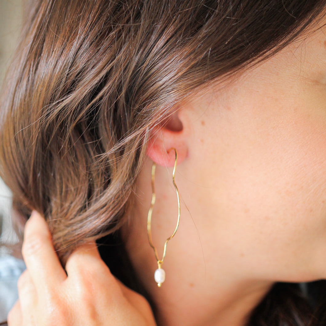 Gold Squiggle and Pearl Earrings