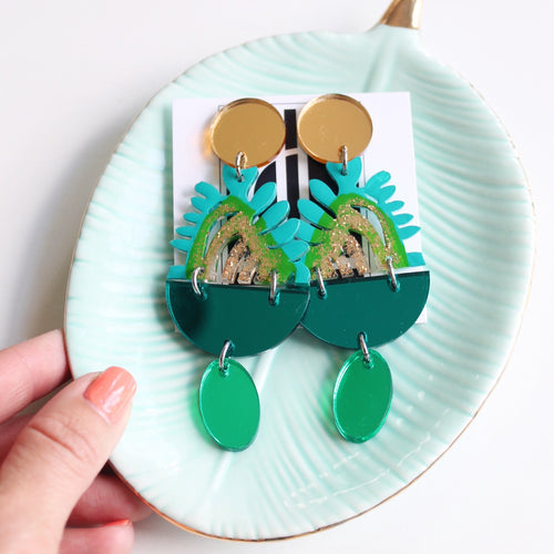 Green and Turquoise Acrylic Earrings