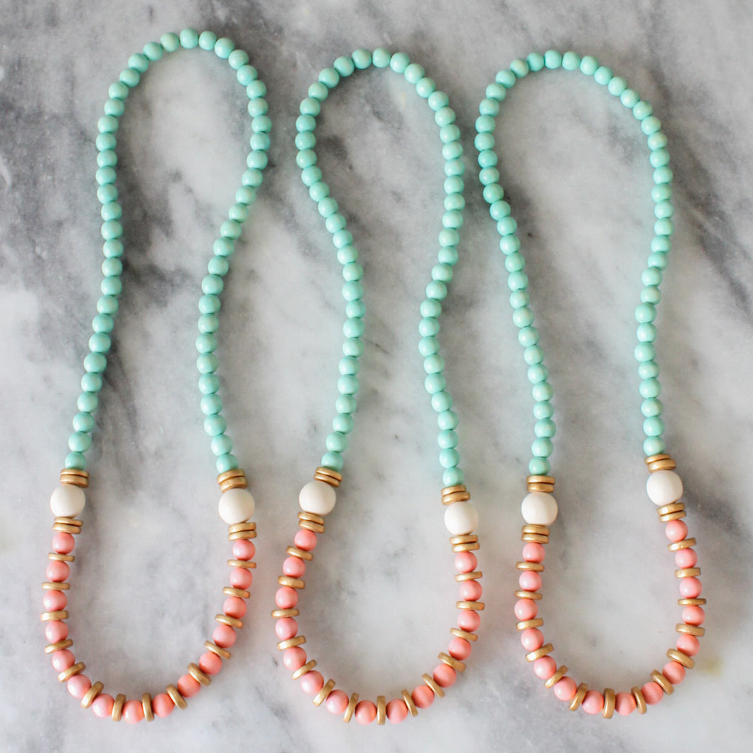 Mint and Coral Wood Bead Necklace