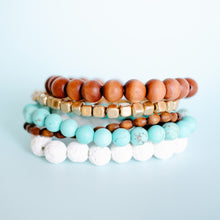 Load image into Gallery viewer, Turquoise and Wood Bracelet Stack