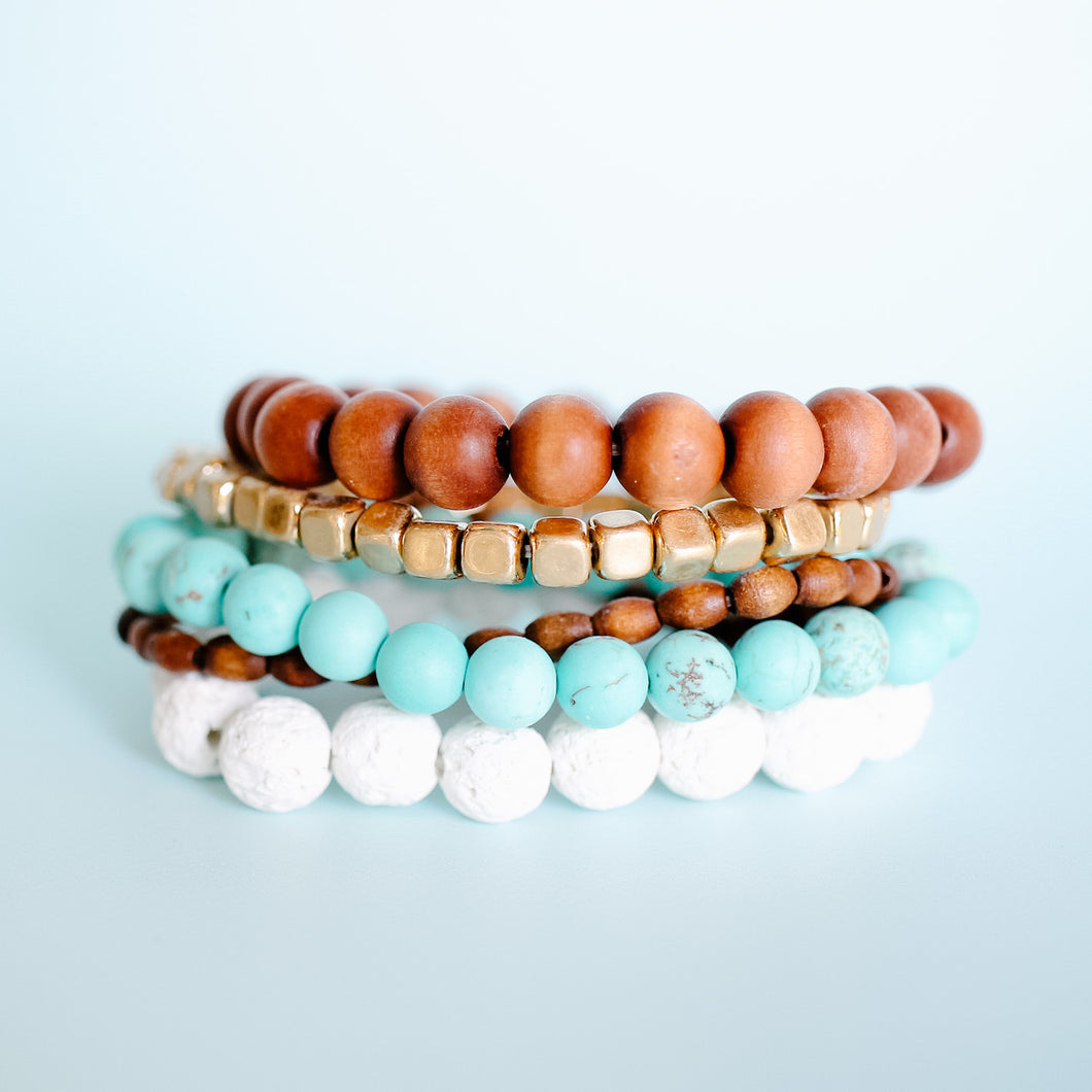 Turquoise and Wood Bracelet Stack