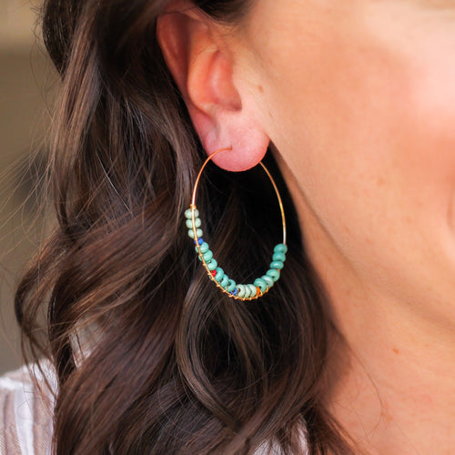 Turquoise Beaded Featherweight Hoops