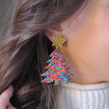 Load image into Gallery viewer, PREORDER- Confetti Christmas Tree Earrings