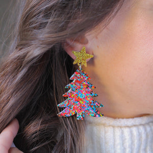 PREORDER- Confetti Christmas Tree Earrings