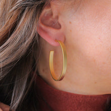 Load image into Gallery viewer, Matte Gold Hoops