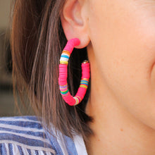 Load image into Gallery viewer, Neon Pink Heishi Hoops