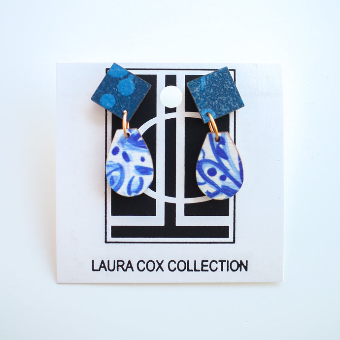 Mini Blue and White Wooden Earrings