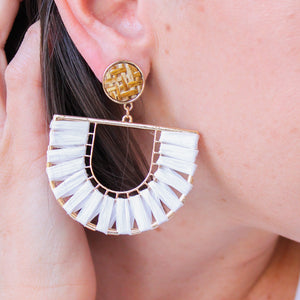 White Woven Raffia Earrings